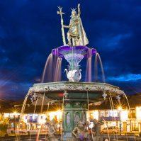 Inca fountain in the Plaza de Armas of Cusco, Peru