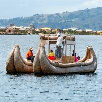 Titicaca, Peru -March 19, 2015: Traditional boat on lake Titicaca